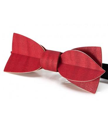 Noeud papillon bois, Asymétric en Erable teinté rouge - MELISSAMBRE