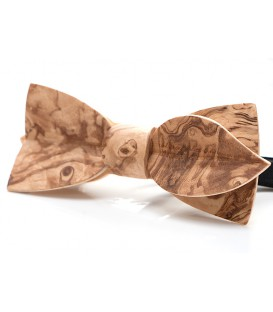 Bow tie in wood, Asymmetric in Ash-olive burl