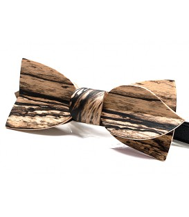 Bow tie in wood, Asymmetric in white Ebony