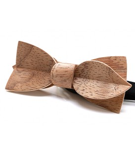 Bow tie in wood, Asymmetric in silvery Bubinga