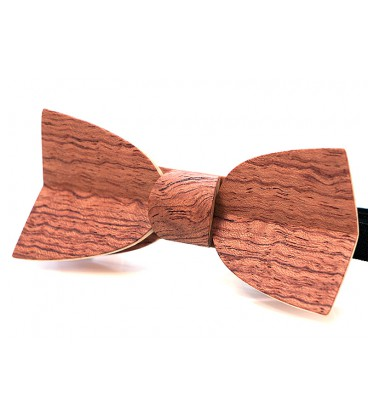 Bow tie in wood, Mellissimo in wavy Bubinga - MELISSAMBRE