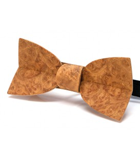 Bow tie in wood, Mellissimo in golden Amboyna burl
