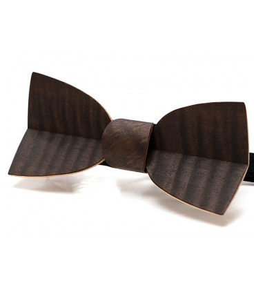 Bow tie in wood, Mellissimo in watered smoked Eucalyptus - MELISSAMBRE