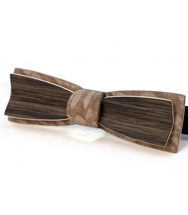Bow tie in wood, Stretto in Marsh Oaok & tinted Louro-faïa - MELISSAMBRE