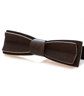 Bow tie in wood, Stretto in smoked Chestnut