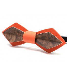 Bow tie in wood, Nib in orange Maple & Walnut tree