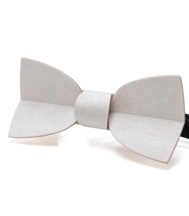 Bow tie in wood, Mellissimo in white Movingui