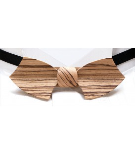 Bow tie in wood, Drakkar in zebrano - MELISSAMBRE®