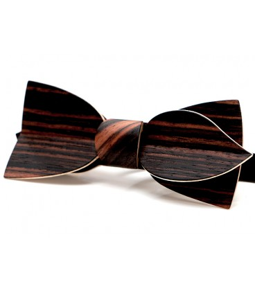 Bow tie in wood, asymmetric in Macassar Ebony - MELISSAMBRE