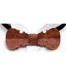 Wooden bow tie, Violin in red Amboyna burl - MELISSAMBRE