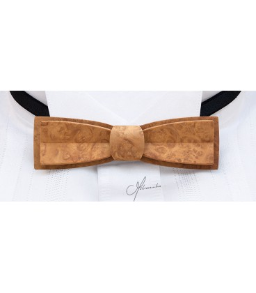 Stretto in gold Amboyna burl, bow tie in wood - MELISSAMBRE