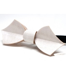 Bow tie in wood, white Eole, MELISSAMBRE