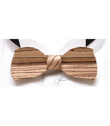 Bow tie in wood, Butterfly in Zebrano, MELISSAMBRE®