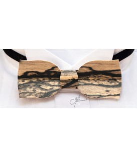 Bow tie in wood, Tulip model in white Ebony