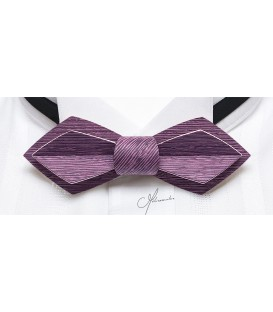Bow tie in wood, Nib in lilac tinted Koto - MELISSAMBRE
