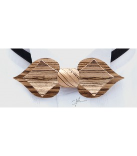 Bow tie in wood, Card model in Zebrano