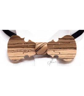 Bow tie in wood, Violin in Zebrano