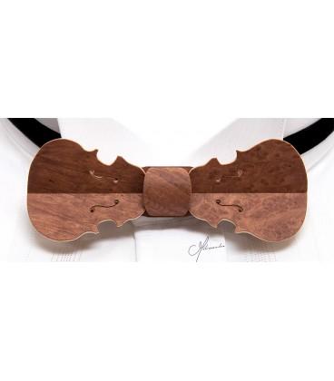 Bow tie in wood, Violin in Vavona burl - MELISSAMBRE