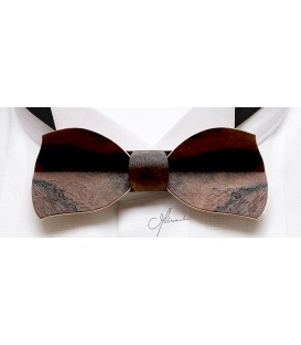 Bow tie in wood, Butterfly in flowered Walnut tree - MELISSAMBRE