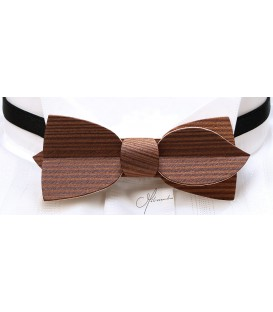 Bow Tie in Wood, Asymmetric in Smoked Larch, MELISSAMBRE®