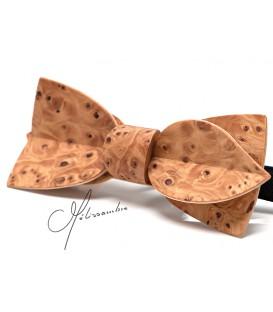 Noeud papillon en bois, Asymétric en loupe d'If