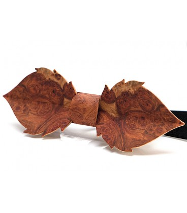 Bow tie in wood, Leaf in red Amboyna burl - MELISSAMBRE
