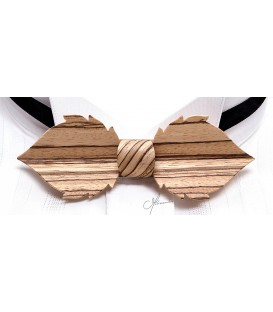 Bow tie in wood, Leaf in Zebrano - MELISSAMBRE