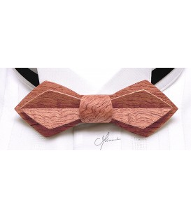 Bow tie in wood, Nib in wavy Bubinga - MELISSAMBRE