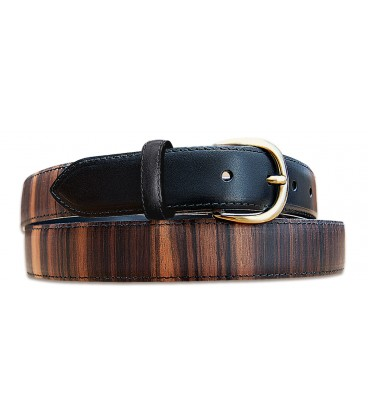Belt in Wood & Leather, Macassar Ebony - MELISSAMBRE