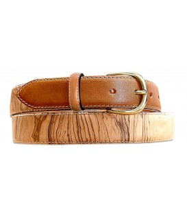 Belt in Wood & Leather, Ash-Olive tree burl - MELISSAMBRE