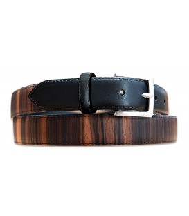 Belt in Wood & Leather, Macassar Ebony - MELISSAMBRE
