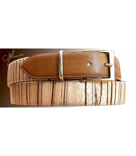 Belt in Wood & Leather, Zebrano 35 - MELISSAMBRE