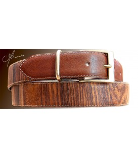 Belt in Wood, Rosewood and Leather