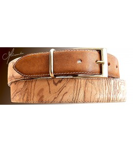 Belt in Wood & Leather, Ash-Olive tree burl 35 - MELISSAMBRE