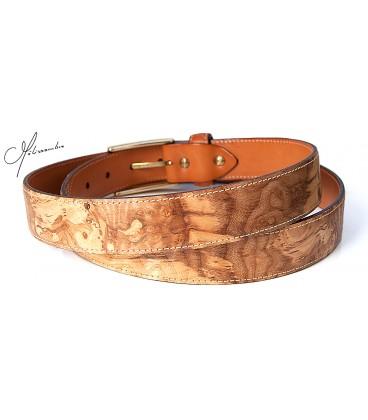 Belt in Wood & Leather - Ash-Olive tree burl - MELISSAMBRE