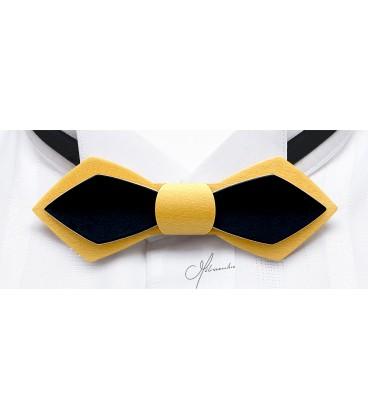 Noeud papillon en bois, Plume en Erable teinté jaune & noir - MELISSAMBRE