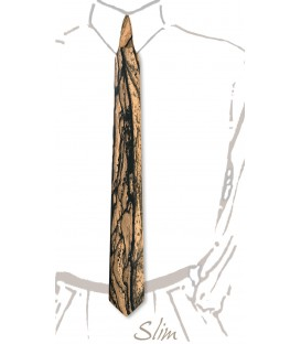Slim necktie in wood, white Ebony