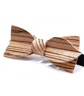Bow tie in wood, Asymmetric in Zebrano - MELISSAMBRE