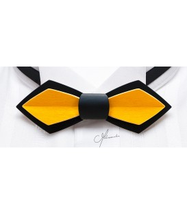 Bow tie in wood, Nib in black & yellow tinted Maple - MELISSAMBRE,