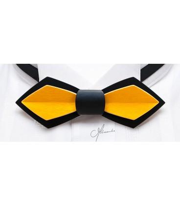 Noeud papillon en bois, Plume en Erable teinté noir & jaune - MELISSAMBRE