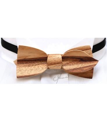 Noeud papillon en bois, Asymétric en Cornouiller - MELISSAMBRE
