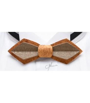 Nœud papillon en bois, Plume en loupe d'Amboine et Erable teinté - MELISSAMBRE