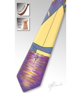 Cravate en bois, voilier parme