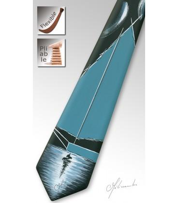 Cravate en bois, le voilier, noir et turquoise - MELISSAMBRE