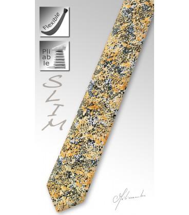 Coral tinted wood slim tie