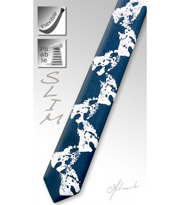 Cravate slim bois teinté corail