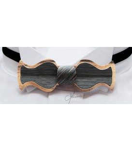 Bow tie in wood, Retro in white Ebony & Marsh Oak - MELISSAMBRE