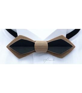 Noeud papillon en bois -Plume en Erable teinté bronze & noir - MELISSAMBRE