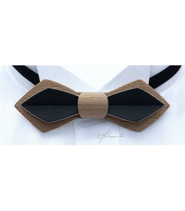 Bow Tie in Wood - Nib in Bronze & Black Tinted Maple - MELISSAMBRE