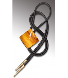 Bolo tie in Osage orange tree, black leathe - MELISSAMBRE
